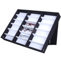 Wholesale Leather Wood Necklace Display - 18Pcs Glasses Storage Display Case Box Eyeglass Sunglasses Optical Display Organizer Frames Tray