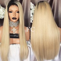8A Full Lace perucas de cabelo humano Blonde 1B / 613 cabelo peruano Straight Gluless Lace Front perucas de cabelo humano para Black / White Mulheres