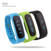 Wholesale E02 Bluetooth Smart Wristbands Waterproof Anti Lost Sports Sleep Monitor Call SMS Remind Smartwatch For Android IOS iPhone Free DHL