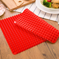 Wholesale Silicone Cake Moulds Wholesale - DHL Free Shipping Red Pyramid Bakeware Pan Nonstick Silicone Baking Mats Pads Moulds Cooking Mat Oven Baking Tray Sheet Kitchen Tools