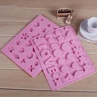 kalp silikon kek pan kalıp toptan satış-Silikon çikolata buz kalıp Aşk şekil kelimeler vb kalp şekli silikon kek kalıbı pişirme pan IB029