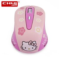 Wholesale Mini Pink Computer Mouse - Wholesale- Wireless Mouse Hello Kitty Computer Mouse 1600DPI Wireless Optical Mause Gaming Mouse Mini Pink Hello Kitty Mice Free Shipping