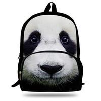 Wholesale cartoon girl panda backpack - Wholesale- 16inch Animal Backpack Panda Print Kids School Backpacks For Girls Age 7-13 Children School Bags Animal Bolsa Infantil Menina