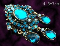 Wholesale Costume Brooch Jewelry Mixed - Wholesale Women zinc alloy flower rhinestone vintage brooch pendant costume jewelry Free shipping 12pcs lot mixed color