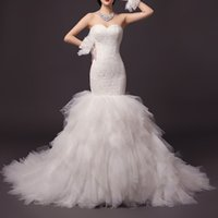 Wholesale Dh Mermaid Wedding Gowns - New Design 005-DH 2017 Spring Autumn Sexy Sweetheart Mermaid Wedding Dresses Lace Appliques Full Skirts Long Train Modern Bridal Gown