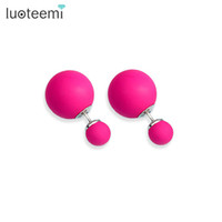 Wholesale Candy Color Copper - LUOTEEMI New Fashion Jewelry Brincos Trendy Pendientes Double Big Imitation Pearl Beads Candy Color Stud Earrings for Women