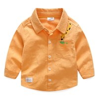 Wholesale Kids Shirt Giraffe - Everweekend Boys Giraffe Embroidered Shirts Tees Candy Collar Autumn Spring Kids Clothing Western Fashion Baby Blouse