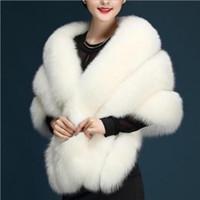 Wholesale Fox Capes - Bridal Wraps 2017 Imitation Fox Fur Hollywood Elegant Wedding Jackets Fashion Cover up Cape Stole Coat Shrug Shawl Bolero