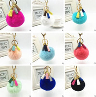Wholesale Tassel Rabbit Fur Ball Plush keychain PomPom ball Bag Pendant Car key Chain Jewelry Cell Phone Car Pendant Handbag keyring