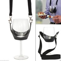 Wholesale Neck Yoke - Portable Black Wine Glass Holder Strap Wine Sling Yoke Glass Holder Support Neck Strap for Birthday Cocktail Party