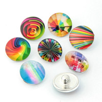 Wholesale Gold Jewelrys - Wholesale-10pcs lot Mixed 18mm Snap Buttons Jewelrys Rainbow Glass Round Snaps Fit Snaps Bracelets Ginger Snaps Jewelry or Necklace