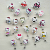 Wholesale Pet Acrylic - 20 pcs lot Cute Cartoon KT Cat Acrylic Retractable Badge Reel Exihibiton ID Name Card Badge Holder Office Supplies