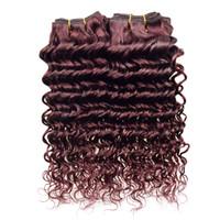 Wholesale Sewing Human Hair Extension - Grade 8a Raw Indian Virgin Hair 4 Bundles Natural Color Deep Wave Burgundy Indian Hair Sew In Weave Human Deep Wave Hair Extensions
