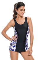 Wholesale 1pc Sexy Swimsuit - Newest 2017 Sexy Bluish Purplish Print Black Panel Tank Style 1pc Bathing Suit Swimsuit