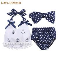 Wholesale Models Hair Bows - Wholesale- Baby Clothing Sets 2017 New Explosion Models Children Sea Anchor Bow Hair Ribbon Shirt Shorts Suit