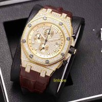 Wholesale Ice Chronograph Watch - Luxury AAA Iced Out Luxury Full Diamonds Rose Gold Watch Men Stainless Steel Jananese Quartz Chronograph Watches Diamond WristWatches