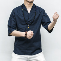 Wholesale Tai Chi Clothing Linen - Chinese Tai Chi and kongfu master clothes style new linen V collar sleeve young man slim coat five sleeves thin Linen loose Shirt