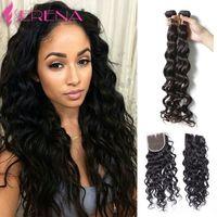 Wholesale Rosa Brazilian Virgin Hair - Rosa Brazilian Water Wave Virgin Hair With Closure Brazillian Virgin Hair Wet and Wavy Brazilian Hair 3 Bundles With Closure