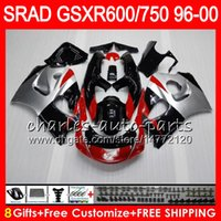 Wholesale 1997 Suzuki Fairing Kit - 8 Gifts 23 Colors For SUZUKI SRAD GSXR750 GSXR600 96 97 98 99 00 5HM20 black red GSX R600 GSXR 600 750 1996 1997 1998 1999 2000 Fairing Kit