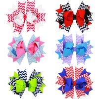Wholesale Stripes Grosgrain Ribbons - 6 colors grosgrain ribbon hair bows children bowknot stripe hair clips high quality multilayer barrettes wholesale