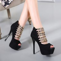Wholesale Sexy Prom Party Grown - Sexy High Heel Metal Plate Slim Strap Platform Pumps Prom Grown Dress Shoes Size 34 to 39