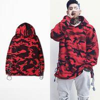 Wholesale Printed Shoelaces - High Street Camouflage Hoodie Shoelace Design Sweatshirt Fashion Brand Red Blue Hoodies BF0840CJ