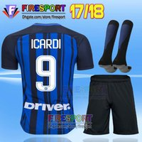 Wholesale Thailand Jersey Milan - Thailand Quality 2017 Inter home kits Soccer jersey CANDREVA ICARDI JOVETIC 2018 Milan full Set Socks 17 18 Maillot de foot football shirts