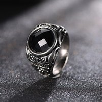 Wholesale men fashion jewel - Rune Gemstone Ring Fashion Jewerly Accessories Black Blue Jewel Ring Men Women Personality Ring OZJ0004