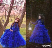 Wholesale Tiered Ruffle Shirt Girl - Gorgeous Blue Girls Pageant Gowns 2017 Lace Long Sleeves A Line Tiered Lace Flower Girl Dresses For Wedding Children Party Dresses