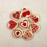 Wholesale Two Hole Heart Button - WB-25 wholesale 100pcs Mixcolor red heart printed wooden buttons two holes colorful Button decorative Sewing Crafts Garment Accessories