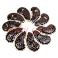 Wholesale Iron Alligator - Casar Golf 10PCS 3#-Pw Alligator LeatherSet Golf Iron Club Covers Headcovers