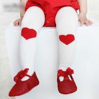 Wholesale Love Heart Girl Legging - New Baby Pantyhose Leggings Princess girl Tights Cotton Cute Love Peach Heart Pant Socks Pantyse Tight PP Pants Girls Legging Pants A6586