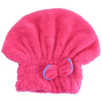 Vente en gros - 2016 6 couleurs Microfibre Solid Hair Turban Quickly Dry Hair Hat Womens Girls Lady's Cap Bathing Tool Drying Towel Head Wrap Hat