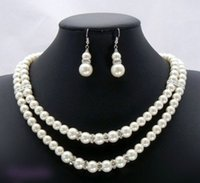 Wholesale Southsea Shell Pearl Silver - Free Shipping **Bridal Wedding Southsea Shell Pearl Necklace Earrings 17-18""