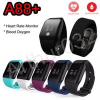 araba derecelendirmesi toptan satış-A88 + Kan Oksijen Monitörü Smartband Kalp Atışı Akıllı Bilezik Spor Bant Fitness İzci Pedometre BT4.0 IOS Android Telefon için Kiralık Bileklik