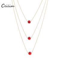 moda dize boncuk kolye toptan satış-Kadınlar Için yeni Moda Takı Katmanlı Uzun Kolye Kırmızı Akik Opal Taş Boncuk Dize Katmanlı Altın yuvarlak boncuk Zincir Gerdanlık Kolye