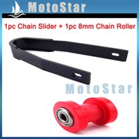 Wholesale Dirt Roller - Wholesale- Motorcycle Red 10mm Chain Roller Pulley Tensioner Chain Slider Rear Swingarm Guard Guide For Pit Dirt Motor Trail Bike Motocross