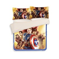 Wholesale Machine Shields - Captain America Shield Duvet Cover Set 2PC-3PC Quilt Cover Pillowcase Twin Full Queen 2 color optional