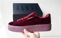 Wholesale Patent Creeper - Womens Rihanna Riri Fenty Platform Creeper Velvet Pack Burgundy Black Grey Color Brand Ladies Classic Casual Shoes 36-39
