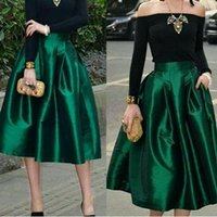 Wholesale Winter Outfits For Party - Dark Green Midi Skirts For Women High Waisted Ruched Satin Tea Length Petite Cocktail Party Skirts Top Quality Women Formal Outfits
