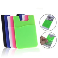 Wholesale credit card phone cases - Silicone Wallet Credit ID Card Cash Pocket Sticker Adhesive Holder Pouch Mobile Phone 3M Gadget For Cable eaphone ipad SCA348