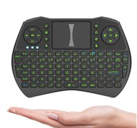 Wholesale Tablets Portable Keyboards - Mini Portable Wireless Keyboard 2.4GHz Air Mouse Remote Control Touchpad For i9-black Android TV Box Notebook Tablet PC MXQ Pro 4K