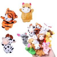 Wholesale Cute Sleep Sets - Wholesale-2016 New Cute 12PCS Lovely Baby Kids Plush Cartoon Doll Cute Animal Finger Puppets Educational Sleep Story Toys Set