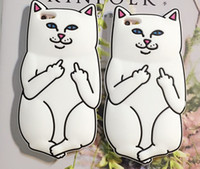 Wholesale Iphone Cases Silicon Animals - 3D Soft Silicon Cat Case For Iphone7 Iphone 7 Plus Cartoon Animals Rubber Middle Finger Capa Cover For iphone 6S Plus