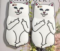 caso dos dedos 3d venda por atacado-3d soft silicon cat case para iphone7 iphone 7 plus animais dos desenhos animados de borracha do dedo médio capa capa para iphone 6 s plus