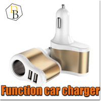 Wholesale Car Lighter Charger Port - Car Charger 2 Plug Colorful 2A Multifunctional USB Port Cigarette Lighter Scokets Power Adapter Universal Splitter for Iphone 7 Samsung s8