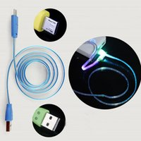 Wholesale smiling face cable for sale – best Lighting USB Cables M Micro USB Date Cable for Samusng HTC i5 i6 i7 Mobile Phone LED Luminous Smile Face charger cable DHL CAB218