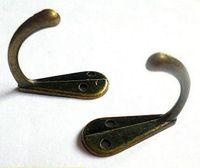 sombrero de bronce al por mayor-Casa Jardín Ropa de una sola mano Bata Robe Monedero Sombrero Gancho Percha Antiguo Bronce 3.4 cm