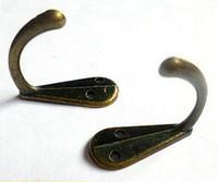 бронзовая шляпа оптовых-Металл одного зубца Одежда Пальто Robe Кошелек Hat крюк вешалки Antique Bronze 3.4cm