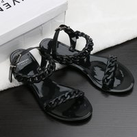Wholesale White Ankle Strap Heels - Europe and the United States new plastic chain beach shoes candy color jelly sandals chain flat bottomed out sandals